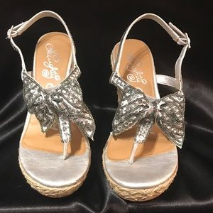 Naughty Monkey Silver Sequins Sandal wedges 7.5
